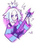 commission dress_shirt freckles guitar hair_bobbles hair_ornament homika_(pokemon) instrument pokemon pokemon_(game) pokemon_bw2 shirt starrymarii striped white_hair