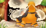0313 claws closed_eyes closed_mouth creature day facing_viewer full_body gen_3_pokemon grass no_humans official_art outdoors pokemon pokemon_(creature) pokemon_trading_card_game solo standing steam third-party_source torkoal