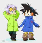 2boys arms_at_sides arms_behind_head black_eyes black_footwear black_gloves black_hair blue_coat blue_eyes blush boots brown_footwear clothes_writing coat collar_up collared_coat dot_nose dragon_ball dragon_ball_super_broly dragon_ball_z earmuffs full_body gloves green_coat grey_background hairband kalno looking_at_another looking_to_the_side male_focus multiple_boys open_mouth purple_hair shadow shiny shiny_hair signature simple_background smiley_face son_goten spiky_hair standing talking teeth trunks_(dragon_ball) twitter_username upper_teeth winter_clothes winter_coat yellow_hairband