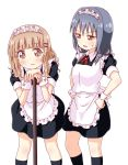 2girls apron black_legwear blonde_hair blue_hair braid brown_eyes commentary_request furutani_himawari hair_ornament hairclip hands_on_hips maid maid_dress maid_headdress multiple_girls oomuro_sakurako open_mouth pontasu simple_background socks sweatdrop twin_braids white_background wrist_cuffs yuru_yuri