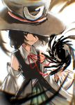 1other androgynous black_eyes black_hair bow danmaku detached_sleeves enraku_tsubakura expressionless hat ink large_hat len'en red_ribbon ribbon short_hair shorts silver_yes_yes solo top_hat upper_body