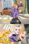atiti_(ttttt945) blonde_hair blue_eyes blurry blurry_background brown_footwear car chinese_commentary chinese_text clenched_hands closed_eyes commentary_request dress_shirt explosion flying formal green_shirt ground_vehicle highres jacket jojo_no_kimyou_na_bouken junkrat_(overwatch) killer_queen kira_yoshikage loafers looking_up male_focus motor_vehicle necktie open_mouth outdoors overwatch parody purple_jacket road shirt shoes squatting stand_(jojo) street striped striped_shirt teeth translation_request