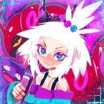 1girl blush forehead freckles guitar hair_bobbles hair_ornament hakkasame homika_(pokemon) instrument koffing pokemon pokemon_(game) pokemon_bw2 scolipede striped white_hair
