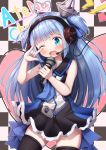 1girl ;d \n/ ahoge bangs bare_arms black_dress black_legwear blue_eyes blue_hair blue_nails blue_neckwear blush checkered checkered_background commentary_request copyright_request dress eyebrows_visible_through_hair hands_up head_tilt headphones headset heart heart_ahoge highres holding holding_microphone lightning_bolt long_hair looking_at_viewer microphone mochiyuki nail_art nail_polish one_eye_closed open_mouth pleated_dress sidelocks sleeveless sleeveless_dress smile solo thigh-highs two_side_up very_long_hair zipper_pull_tab
