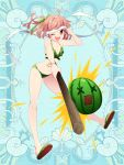 1girl ;d bikini blue_background bracelet breasts food fruit full_body green_bikini hair_ribbon jewelry kerberos_blade l_(matador) looking_at_viewer navel one_eye_closed open_mouth red_eyes ribbon sandals short_hair simple_background small_breasts smile solo standing swimsuit watermelon white_ribbon x_x