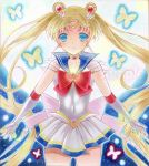1girl bishoujo_senshi_sailor_moon blonde_hair blue_eyes blue_sailor_collar bow bowtie collarbone covered_navel cowboy_shot crescent crescent_earrings earrings elbow_gloves eyebrows_visible_through_hair floating_hair full_moon gloves jewelry leotard long_hair looking_at_viewer miniskirt moon parted_lips pleated_skirt red_bow red_neckwear sailor_collar sailor_moon sample skirt solo standing super_sailor_moon traditional_media very_long_hair wakaba0801 white_gloves white_skirt