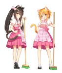 2girls animal_ears black_footwear black_hair blush bow broom brown_eyes cat_ears cat_tail closed_mouth full_body go-1 hair_between_eyes hair_bow hand_on_hip highres holding holding_broom idolmaster idolmaster_cinderella_girls kemonomimi_mode long_hair looking_at_viewer matoba_risa multiple_girls open_mouth orange_hair pink_bow pink_skirt puffy_short_sleeves puffy_sleeves shirt short_hair short_sleeves simple_background skirt smile tail twintails waitress white_background white_shirt yellow_eyes yuuki_haru