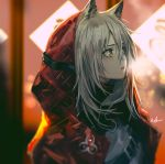 1girl animal_ears arknights bangs grey_hair hair_between_eyes hood hood_up hooded_jacket infukun jacket long_hair looking_away open_clothes open_jacket open_mouth projekt_red_(arknights) red_jacket sidelocks solo wolf_ears yellow_eyes