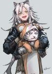 1girl animal animal_costume animal_ears arknights bangs bell choker costume facial_scar fang hair_between_eyes highres holding holding_animal indra_(arknights) infukun jacket long_hair looking_at_viewer mouse_costume nose_scar open_clothes open_mouth scar shirt sidelocks smile solo tiger very_long_hair white_hair yellow_eyes