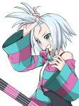 biting blush emapippi freckles guitar hair_ornament highres homika_(pokemon) instrument pokemon pokemon_(game) pokemon_bw2 smile striped white_hair