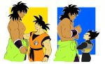 3boys :d ^_^ abs arm_at_side armor arms_at_sides black_eyes black_hair blue_background broly_(dragon_ball_super) clenched_hands closed_eyes clothes_around_waist clothes_writing collarbone crossed_arms dark_skin dark_skinned_male dougi dragon_ball dragon_ball_super_broly dragon_ball_z expressionless fingernails from_side frown hands_on_own_chest happy height_difference looking_at_another looking_down looking_up male_focus messy_hair multiple_boys muscle nervous new_jirou open_mouth orange_background profile scared shirtless simple_background smile son_gokuu spiky_hair square upper_body vegeta white_background wristband