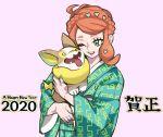 1girl 2020 ahoge alternate_hairstyle aqua_eyes braid cheek-to-cheek crown_braid french_braid gratin_gratin green_kimono hair_ornament happy_new_year heart heart_hair_ornament highres holding holding_pokemon japanese_clothes kimono long_hair long_sleeves new_year one_eye_closed open_mouth orange_hair pink_background pokemon pokemon_(creature) pokemon_(game) pokemon_swsh print_kimono simple_background smile solo sonia_(pokemon) tongue tongue_out wide_sleeves yamper