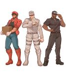 3boys adjusting_clothes adjusting_hat atiti_(ttttt945) baseball_cap beard belt black_footwear black_pants black_shirt blue_footwear blue_pants boots box brown_hair cabbie_hat chinese_commentary collarbone collared_jacket commentary_request cosplay cross-laced_footwear dark_skin dress_shirt facial_hair facial_scar full_body gloves hat hataraku_saibou highres holding holding_box jacket killer_t_(hataraku_saibou) killer_t_(hataraku_saibou)_(cosplay) lace-up_boots long_sleeves looking_at_viewer male_focus mccree_(overwatch) multiple_boys mustache overwatch pants reaper_(overwatch) red_blood_cell_(hataraku_saibou) red_blood_cell_(hataraku_saibou)_(cosplay) red_jacket scar sheath shirt shoes short_sleeves smile soldier:_76_(overwatch) uniform white_background white_blood_cell_(hataraku_saibou) white_blood_cell_(hataraku_saibou)_(cosplay) white_gloves white_headwear white_shirt