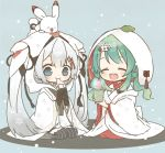 1other 2girls aqua_hair black_gloves black_legwear blue_eyes chibi closed_eyes commentary cup dual_persona eating fingerless_gloves food full_body gloves hair_ornament hatsune_miku holding holding_cup holding_food hood japanese_clothes kimono leaf light_blush long_hair mochi multiple_girls najo open_mouth rabbit rabbit_yukine seiza sitting sitting_on_head sitting_on_person smile snowflake_print snowing steam striped striped_legwear teacup thigh-highs twintails very_long_hair vocaloid white_hair white_kimono wide_sleeves yuki_miku yuki_miku_(2015) yuki_miku_(2018)