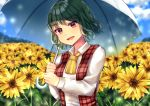 1girl arms_up blue_sky clouds commentary_request cravat day eyebrows_visible_through_hair field flower flower_field garden_of_the_sun green_hair head_tilt holding holding_umbrella kazami_yuuka leaf light_particles long_sleeves looking_at_viewer maitacoco open_clothes open_mouth open_vest outdoors plaid plaid_vest red_eyes shirt short_hair sky solo standing sunflower touhou umbrella upper_body vest white_shirt yellow_neckwear