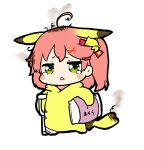 1girl absurdres ahoge bandages bell chestnut_mouth chibi cosplay crutch full_body gen_1_pokemon green_eyes hair_bell hair_ornament hairclip highres hololive messy_hair nejime one_side_up open_mouth pikachu pikachu_(cosplay) pillow pink_hair pokemon sakura_miko super_smash_bros. tail tears virtual_youtuber white_background