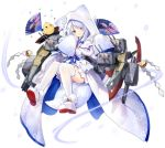 1girl animal_ears azur_lane cloak fan folding_fan full_body highres hood hooded_cloak japanese_clothes long_sleeves looking_at_viewer manjuu_(azur_lane) open_mouth rigging smile solo thigh-highs transparent_background turret uranami_(azur_lane) violet_eyes white_eyelashes white_hair white_legwear wide_sleeves