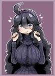 1girl ahoge al_bhed_eyes alternate_breast_size breasts dress hairband hex_maniac_(pokemon) highres large_breasts long_hair messy_hair pokemon purple_background ribbed_sweater solo sweater tagme tazonotanbo