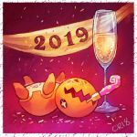 2019 alcohol banner border calonarang champagne champagne_flute commentary confetti creature cup drink drinking_glass english_commentary full_body gen_3_pokemon lying motion_lines mouth_hold new_year no_humans on_back party_horn pink_background pokemon pokemon_(creature) signature simple_background solo trapinch upside-down white_border
