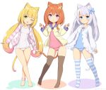 3girls animal_ears anklet aqua_eyes blonde_hair blue_swimsuit blush_stickers breasts cat_ears eyebrows_visible_through_hair green_eyes hair_ornament heart heart_hair_ornament jacket jewelry light_blue_hair long_hair long_sleeves looking_at_viewer multiple_girls one-piece_swimsuit one_eye_closed open_clothes open_jacket orange_hair original pink_swimsuit sasaame school_swimsuit short_hair small_breasts striped striped_legwear swimsuit thigh-highs twintails violet_eyes white_swimsuit