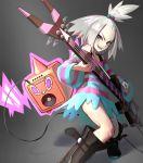 absurdres blush boots dress grey_background guitar headband highres homika_(pokemon) instrument pokemon pokemon_(game) pokemon_bw2 rotom shien_(tatunokoshien00) striped striped_dress white_hair