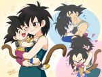 >_< 1girl 3boys :d :p ^_^ armor arms_around_neck bardock bare_arms bare_shoulders beige_background black_eyes black_hair blue_background blue_outline blush boots breasts brothers carrying cheek-to-cheek closed_eyes closed_mouth collarbone couple dot_nose dragon_ball dragon_ball_minus dragon_ball_super_broly eyebrows_visible_through_hair eyelashes facial_scar family father_and_son fingernails flying_sweatdrops forehead_kiss gine happy heart hetero hug hug_from_behind kalno kiss looking_at_another looking_up medium_breasts monkey_tail mother_and_son multiple_boys nervous one_eye_closed open_mouth outline pink_background profile purple_outline raditz scar scar_on_cheek siblings signature simple_background smile smiley_face son_gokuu spiky_hair star starry_background sweatdrop tail tongue tongue_out twitter_username wavy_mouth white_footwear wristband