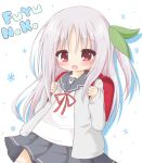1girl :d backpack bag bangs blush character_name colored_shadow drop_shadow eyebrows_visible_through_hair fuyuno_usako grey_hair grey_jacket grey_sailor_collar grey_skirt hair_ornament hands_up holding_strap jacket leaf_hair_ornament long_hair long_sleeves looking_at_viewer neck_ribbon one_side_up open_clothes open_jacket open_mouth original pleated_skirt randoseru red_eyes red_ribbon ribbon rinechun sailor_collar school_uniform serafuku shadow shirt simple_background skirt sleeves_past_wrists smile snowflakes solo very_long_hair white_background white_shirt