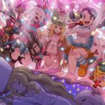 3girls :d abomasnow absurdres arm_up black_hair brown_eyes brown_hair cattleya_(pokemon) chestnut_mouth clothes_around_waist cosplay_pikachu dreaming gen_1_pokemon gen_5_pokemon glowstick guitar hair_ornament hairclip highres holding holding_microphone homika_(pokemon) instrument jacket_around_waist jumping koffing long_hair maracas microphone multiple_girls munna music open_mouth pink_eyes playing_instrument pokemoa pokemon pokemon_(creature) pokemon_(game) pokemon_bw reuniclus scolipede shirt shoes sleeping smile socks striped striped_legwear striped_shirt suzuna_(pokemon) tambourine twintails white_hair white_headwear yellow_eyes