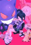 1boy black_hair black_shorts creature cursola evil_smile galarian_yamask gen_1_pokemon gen_7_pokemon gen_8_pokemon gengar gym_leader holding holding_mask kan looking_at_viewer male_focus mask mask_removed mimikyu onion_(pokemon) pink_background pokemon pokemon_(creature) pokemon_(game) pokemon_swsh shoes shorts simple_background sitting smile
