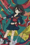 156m artist_name bandaged_arm bandages bandaid bandaid_on_face bandaid_on_leg black_hair dated dutch_angle hand_on_hip highlights highres holding holding_weapon kill_la_kill matoi_ryuuko midriff multicolored_hair navel pleated_skirt redhead school_uniform scissor_blade senketsu serafuku shoes short_hair skirt sneakers streaked_hair suspenders weapon