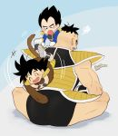 +++ 3boys :d :o ^_^ annoyed aqua_background armor black_eyes black_hair blue_background clenched_teeth closed_eyes dot_nose dragon_ball dragon_ball_minus dragon_ball_super_broly facial_hair from_behind frown gloves gradient gradient_background grey_background hands_on_another's_shoulders indian_style kalno looking_at_another looking_back looking_down male_focus monkey_tail multiple_boys muscle mustache nappa open_mouth playing signature simple_background sitting size_difference smile smiley_face son_gokuu speed_lines sweatdrop tail tail_grab teeth twitter_username vegeta white_gloves younger