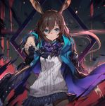 1girl amiya_(arknights) animal_ears arknights bangs black_jacket blue_eyes brown_hair closed_mouth expressionless eyebrows_visible_through_hair hair_between_eyes jacket jewelry long_hair long_sleeves looking_at_viewer multiple_rings olys open_clothes open_jacket pantyhose pointing rabbit_ears ring sidelocks skirt solo thumb_ring very_long_hair wind