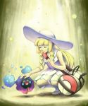 1girl ^_^ bag blonde_hair blush_stickers braid breasts closed_eyes commentary_request cosmog creature dress gen_7_pokemon golden_boden happy highres lillie_(pokemon) poke_ball_print pokemon pokemon_(creature) pokemon_(game) pokemon_sm signature small_breasts smile sundress white_dress white_headwear