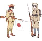 2girls absurdres arisaka backpack bag bayonet black_hair blonde_hair blue_eyes bolt_action full_body gun hat highres holding holding_gun holding_weapon imperial_japanese_army japanese_flag longmei_er_de_tuzi looking_at_viewer military military_hat military_uniform multiple_girls original rifle twintails uniform weapon white_background