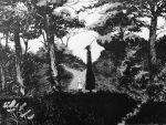 1girl 1other day millipen_(medium) minazqy monochrome outdoors sensei_(totsukuni_no_shoujo) shiva_(totsukuni_no_shoujo) totsukuni_no_shoujo traditional_media tree
