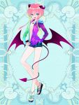 androgynous blue_background blue_eyes demon_tail full_body gradient_hair hand_in_pocket horns jewelry kerberos_blade l_(matador) looking_at_viewer multicolored_hair necklace pink_hair sandals short_shorts shorts sidelocks simple_background smile solo standing star star_print tail unzipping wings