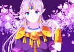 1girl alternate_color alternate_hair_color closed_mouth collarbone earrings flower hair_intakes indisk_irio jewelry long_hair looking_at_viewer necklace pointy_ears princess_zelda purple_background purple_shirt shiny shiny_hair shirt short_sleeves shoulder_armor silver_hair smile solo the_legend_of_zelda upper_body very_long_hair white_flower
