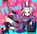 1girl blush boots dress_shirt forehead guitar hair_bobbles hair_ornament hanesaki_nekome homika_(pokemon) instrument pokemon pokemon_(game) pokemon_bw2 shirt striped white_hair