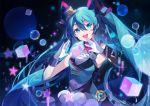 1girl :d asymmetrical_sleeves bangs black_sleeves blue_eyes blue_hair detached_sleeves floating_hair gloves hair_between_eyes hat hatsune_miku highres long_hair long_sleeves magical_mirai_(vocaloid) mini_hat mini_top_hat open_mouth shiny shiny_hair single_sleeve smile solo standing top_hat upper_body very_long_hair vocaloid white_gloves yayako_(804907150)