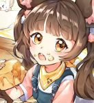 >o< 1girl animal_ear_fluff animal_ears apple_pie bangs brown_hair child close-up eating eyebrows_visible_through_hair food food_on_face holding holding_food lerome light_brown_eyes long_hair looking_at_viewer mouse mouse_ears neckerchief open_mouth original overalls short_sleeves solo_focus twintails upper_body yellow_neckwear