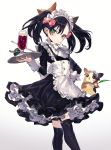 1girl alternate_costume apron black_dress black_hair black_legwear blush bow brown_ribbon closed_mouth commentary_request dress dusk_ball enmaided food frilled_apron frills garter_straps gen_8_pokemon gradient gradient_background green_eyes grey_background hair_between_eyes hair_bow hair_ribbon hand_on_hip highres holding holding_tray ice_cream ice_cream_float long_sleeves looking_at_viewer maid maid_headdress mary_(pokemon) morpeko namakawa over-kneehighs pink_bow poke_ball pokemon pokemon_(creature) pokemon_(game) pokemon_swsh ribbon simple_background spoon thigh-highs tray twintails white_apron white_background white_bow