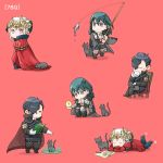 1boy 2girls black_hair blue_eyes blue_hair book byleth_(fire_emblem) byleth_(fire_emblem)_(female) cape cat chair closed_eyes closed_mouth edelgard_von_hresvelg fire_emblem fire_emblem:_three_houses fish fishing_rod gloves headpiece holding holding_book horns hubert_von_vestra lying medium_hair multiple_girls on_stomach open_book red_background red_cape robaco short_hair simple_background sitting squatting violet_eyes white_gloves white_hair