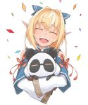 1girl animal_costume bare_shoulders blonde_hair carrying closed_eyes confetti dark_skin elf eyebrows_visible_through_hair hair_ornament highres hololive kintsuba_(flare_channel) open_mouth panda_costume pointy_ears shiranui_flare shoulder_cutout tongue uchukurage_san upper_body upper_teeth virtual_youtuber white_background