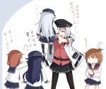5girls =3 akatsuki_(kantai_collection) bangs belt black_headwear black_skirt blue_skirt blush breasts brown_hair carrying closed_eyes eyebrows_visible_through_hair flat_cap flying_sweatdrops gangut_(kantai_collection) gloves hat hibiki_(kantai_collection) ikazuchi_(kantai_collection) inazuma_(kantai_collection) jacket kantai_collection long_hair long_sleeves multiple_girls okitarou_(okiyo) open_mouth pantyhose pleated_skirt purple_hair red_shirt sailor_collar school_uniform serafuku shirt short_hair silver_hair simple_background skirt thigh-highs translation_request white_jacket