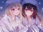 2girls :d bangs blonde_hair blush brown_hair capelet closed_mouth commentary_request eyebrows_visible_through_hair fate/kaleid_liner_prisma_illya fate_(series) frilled_sleeves frills fur-trimmed_capelet fur_hat fur_trim gradient gradient_background hair_ornament hairclip hand_on_own_chest hat illyasviel_von_einzbern lens_flare long_hair long_sleeves looking_at_viewer miyu_edelfelt multiple_girls nasii open_mouth pom_pom_(clothes) red_eyes ribbon smile snowflakes upper_body white_capelet white_headwear white_ribbon yellow_eyes