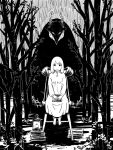 1girl 1other barefoot black_eyes book book_stack candle chair greyscale horns looking_at_viewer maholand monochrome outdoors sensei_(totsukuni_no_shoujo) shiva_(totsukuni_no_shoujo) sitting totsukuni_no_shoujo tree white_eyes white_hair