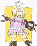 becknolastname boots commission dress_shirt guitar hair_ornament homika_(pokemon) instrument pokemon pokemon_(game) pokemon_bw2 shirt striped white_hair