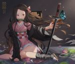 1girl artist_name bamboo bangs bit_gag black_hair brown_hair bug butterfly collarbone commentary dated forehead gag gompang gradient_hair hair_ribbon highres insect japanese_clothes kamado_nezuko katana kimetsu_no_yaiba kimono kneeling long_hair long_sleeves mouth_hold multicolored_hair obi pink_eyes pink_kimono pink_ribbon ribbon sash solo sword two-tone_hair very_long_hair water_surface weapon