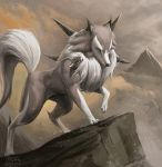 blue_eyes claws clouds cloudy_sky commentary creature english_commentary full_body gen_7_pokemon highres lycanroc mcgmark mountain no_humans outdoors pokemon pokemon_(creature) realistic signature sky solo standing wolf