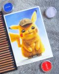 absurdres blondynkitezgraja brown_eyes colored_pencil colored_pencil_(medium) creature detective_pikachu detective_pikachu_(character) detective_pikachu_(movie) full_body gen_1_pokemon hat highres no_humans pencil photo pikachu pokemon pokemon_(creature) realistic signature solo standing traditional_media watermark web_address